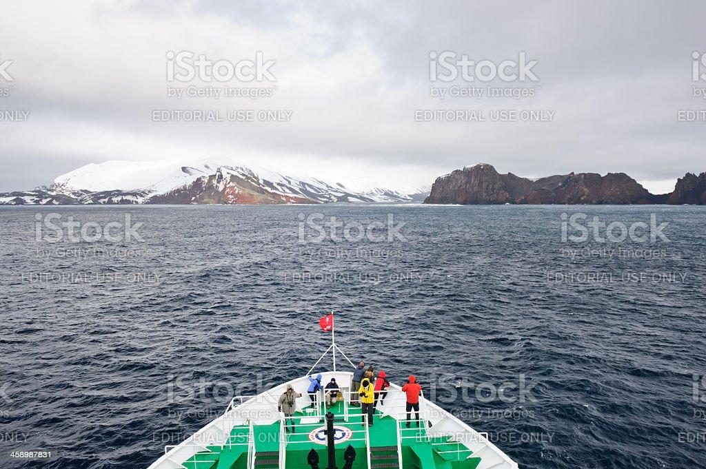 Entering Deception islands stock photo