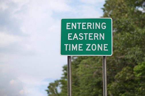 Entering Eastern Time Zone Stock Photo - Download Image ...