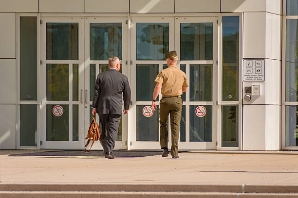 Entering federal court. Islip, NY USA, October 14, 2016. major military rank stock pictures, royalty-free photos & images