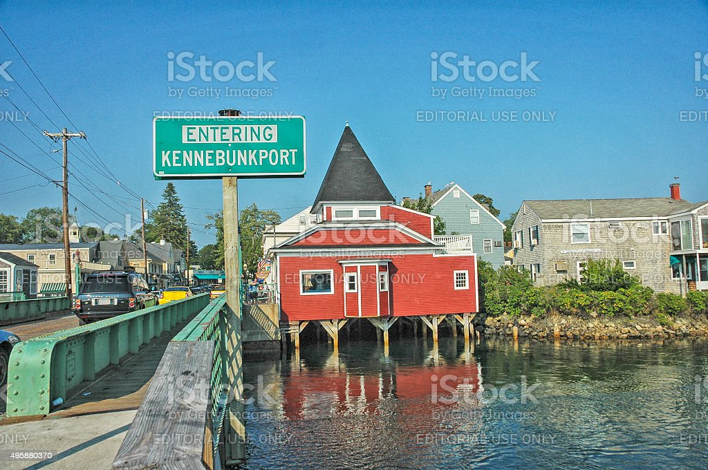 Entering Kennebunkport Maine A Village by the Atlantic Ocean stock photo