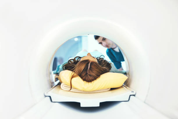 Entering MRI scan. stock photo
