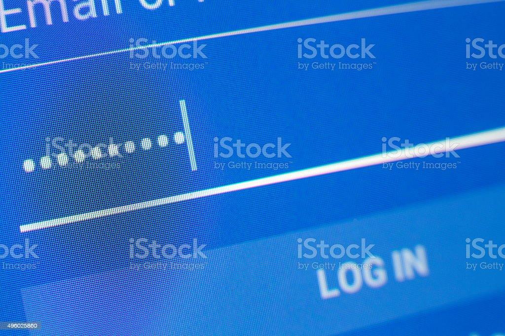entering password stock photo