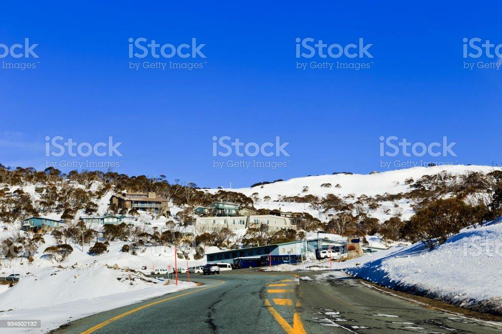 SM Entering Perisher Snow stock photo