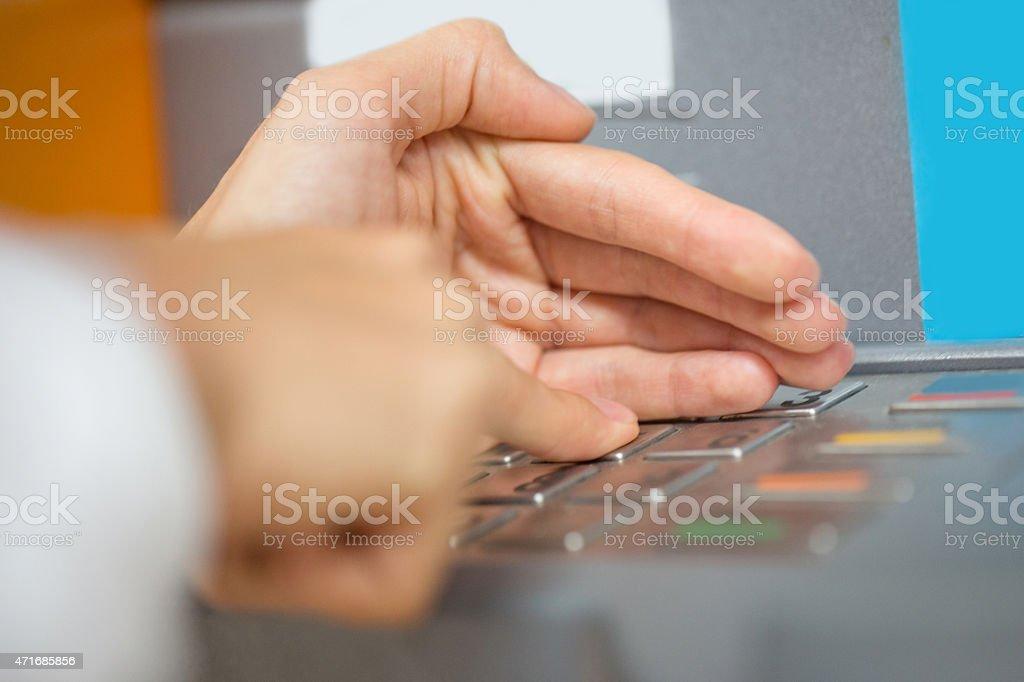Entering pin code stock photo