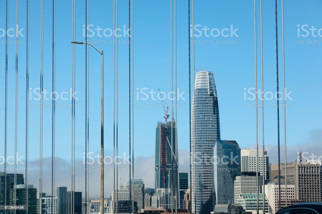 Entering San Francisco over Bay Bridge stock photo