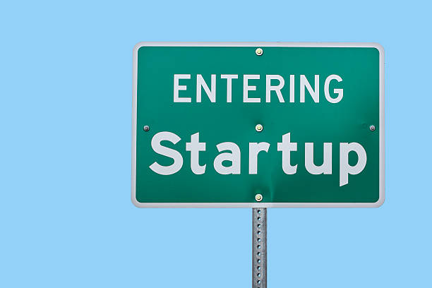 Entering Startup Road Sign stock photo