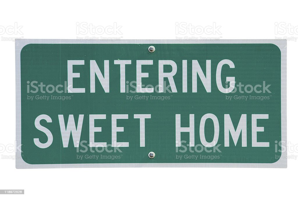 Entering sweet home stock photo