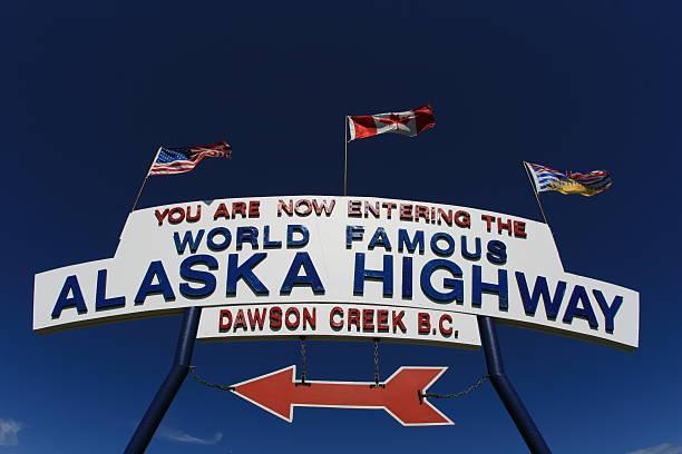 Entering The Alaska Highway stock photo