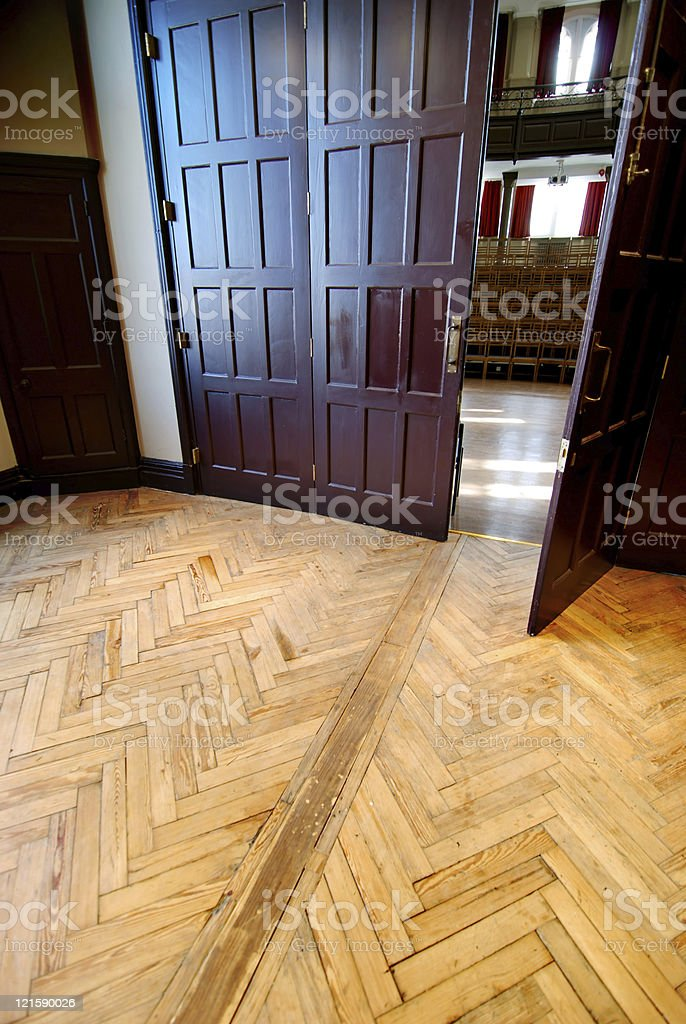 Entering the lecture room theatre royalty-free stock photo