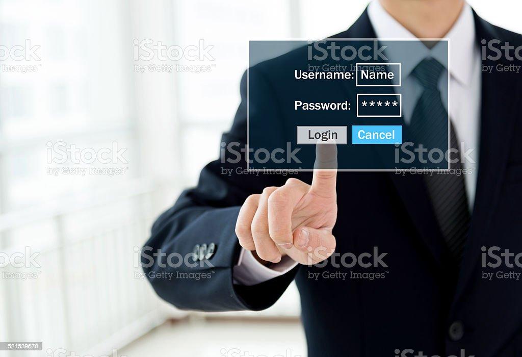 Entering the password stock photo
