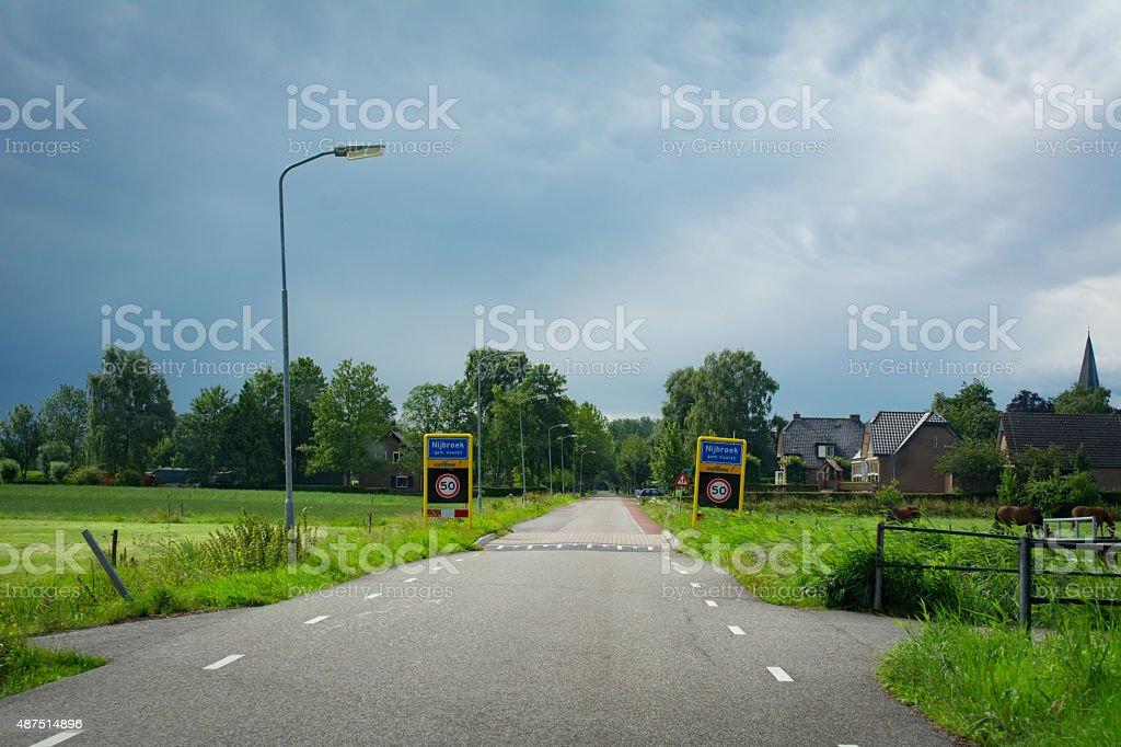 Entering the small town of nijbroek stock photo