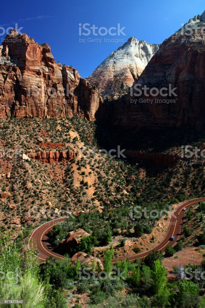 Entering Zion National Park stock photo