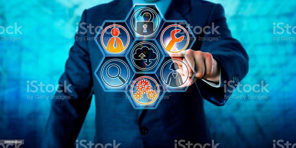 Enterprise Client Activating Managed Services - foto de stock
