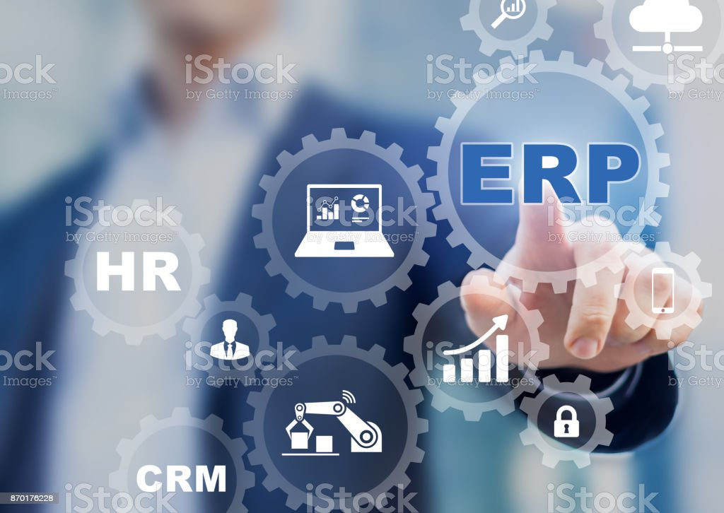 Enterprise Resource Planning (ERP) and business process management technology concept stock photo