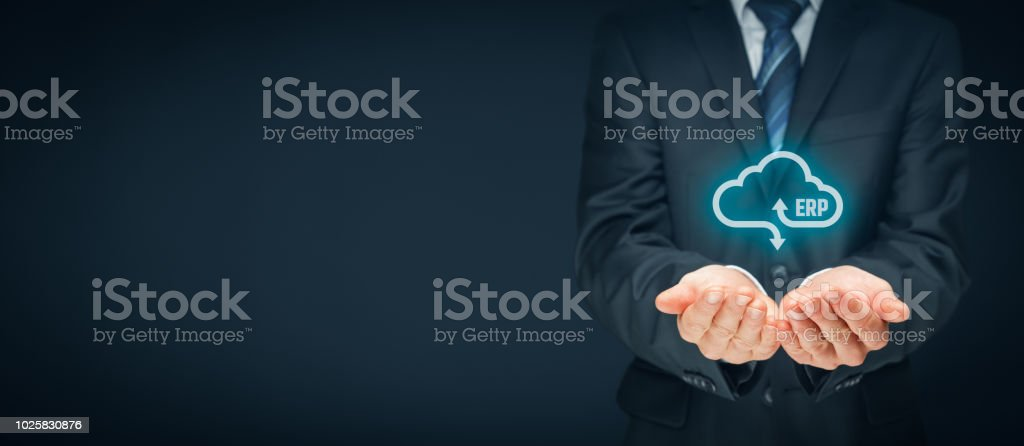 Enterprise resource planning ERP as cloud computing service stock photo