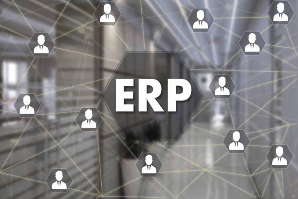 Enterprise Resource Planning. ERP  on the touch screen with a blur background of the office.The concept of Enterprise Resource Planning, ERP stock photo