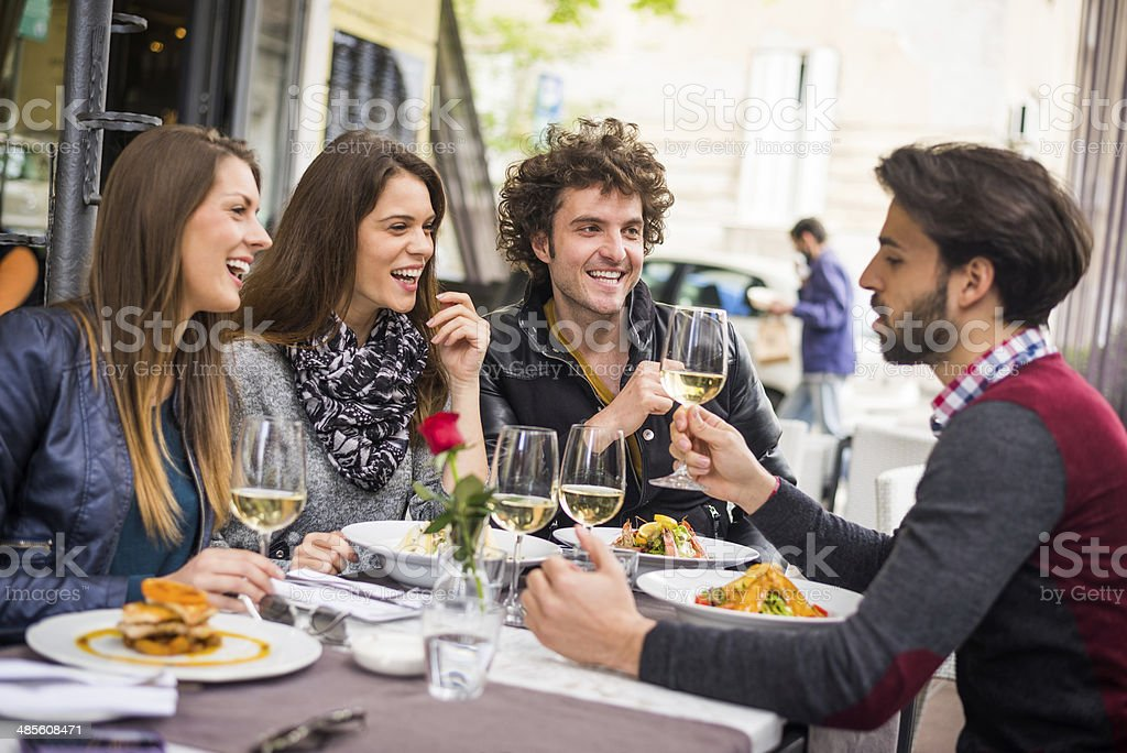 Entertaining friends royalty-free stock photo