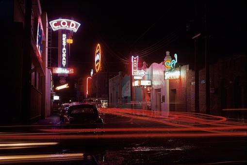 Entertainment district in Nuevo Laredo, Mexico, 1960