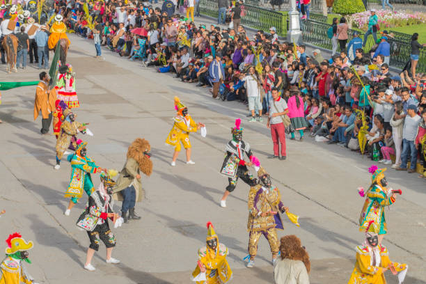 Entertainment group performing during the celebration of the Palm Sunday of Easter at Ayacucho, Peru. stock photo