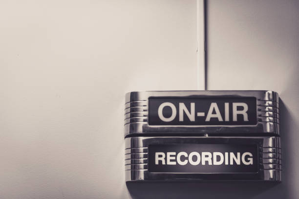 Entertainment On Air Recording Radio Station Retro Lights Sign stock photo