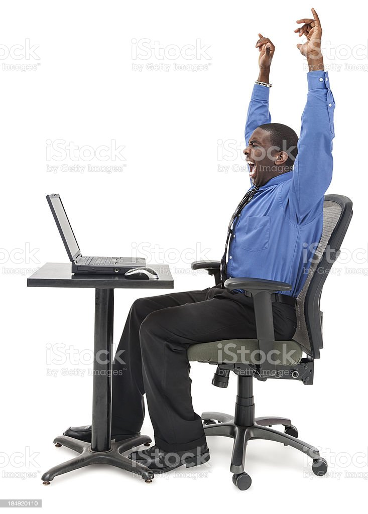 Enthusiastic Businessman with Laptop royalty-free stock photo