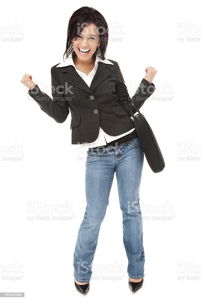 Enthusiastic Businesswoman in Jeans royalty-free stock photo