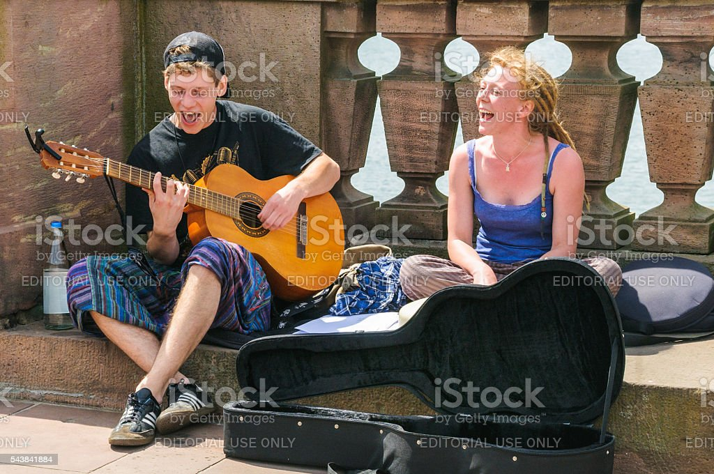 Enthusiastic Buskers stock photo