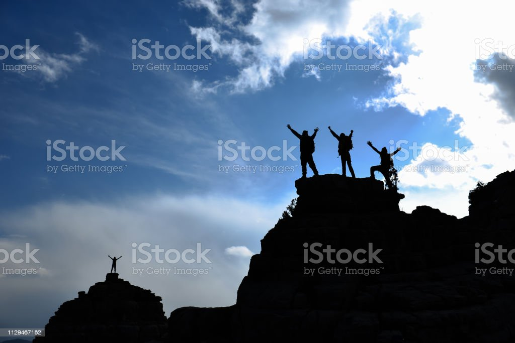 enthusiastic, energetic and ambitious climbers stock photo