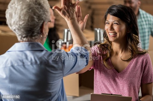 istock Enthusiastic food drive volunteers high five one another 623503150