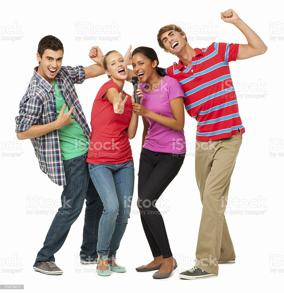 Enthusiastic Friends Singing Into Microphone - Isolated royalty-free stock photo