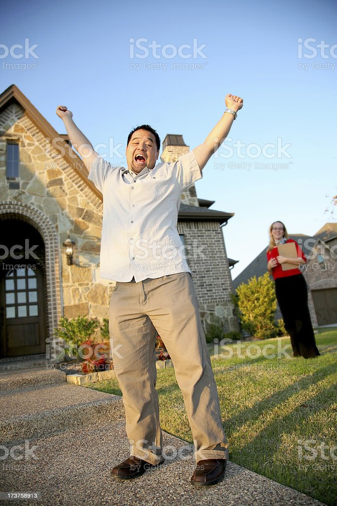 Enthusiastic man buying a new home royalty-free stock photo