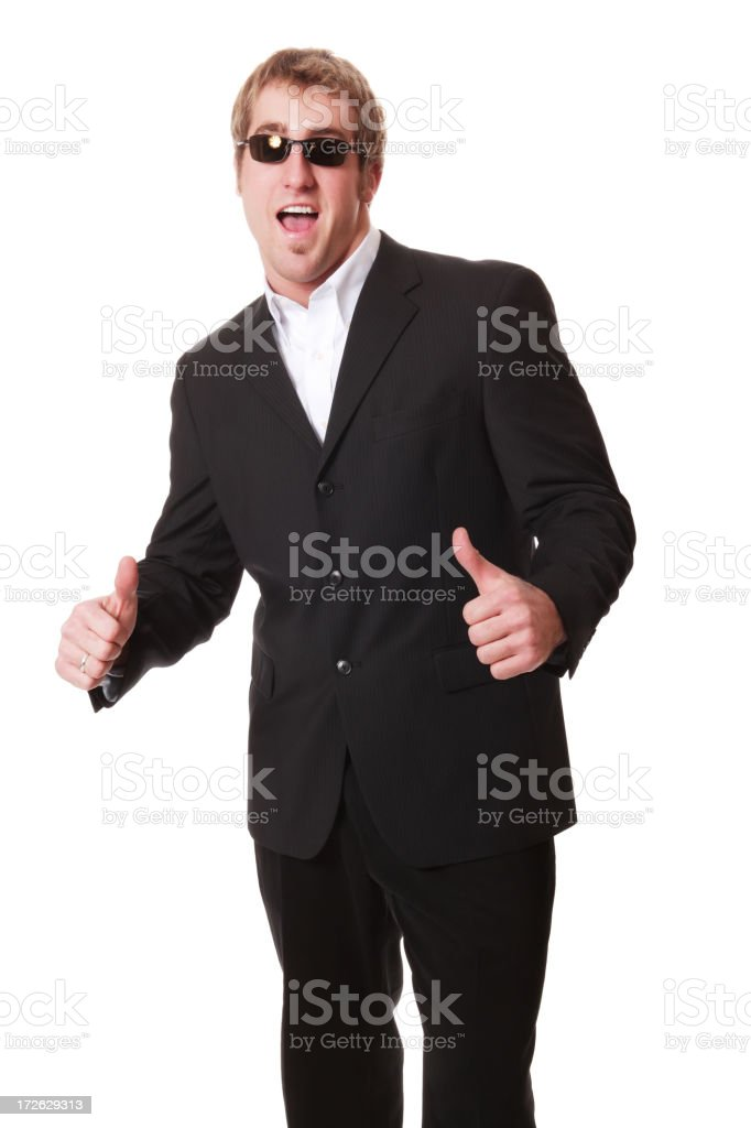 Enthusiastic Man In Black stock photo