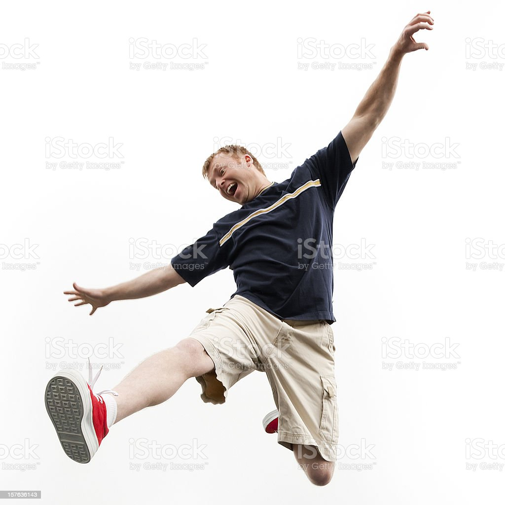 Enthusiastic Man Jumping for Joy royalty-free stock photo