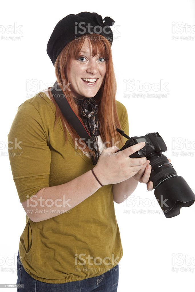 Enthusiastic Woman Photographer with Digital SLR Camera Isolated White Background royalty-free stock photo