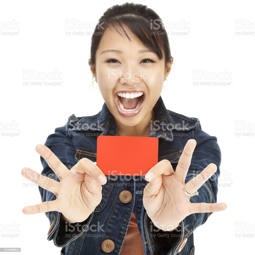Enthusiastic Young Asian Woman with Blank Gift Card stock photo
