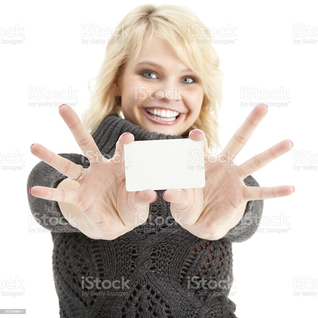Enthusiastic Young Woman with Blank Gift Card royalty-free stock photo