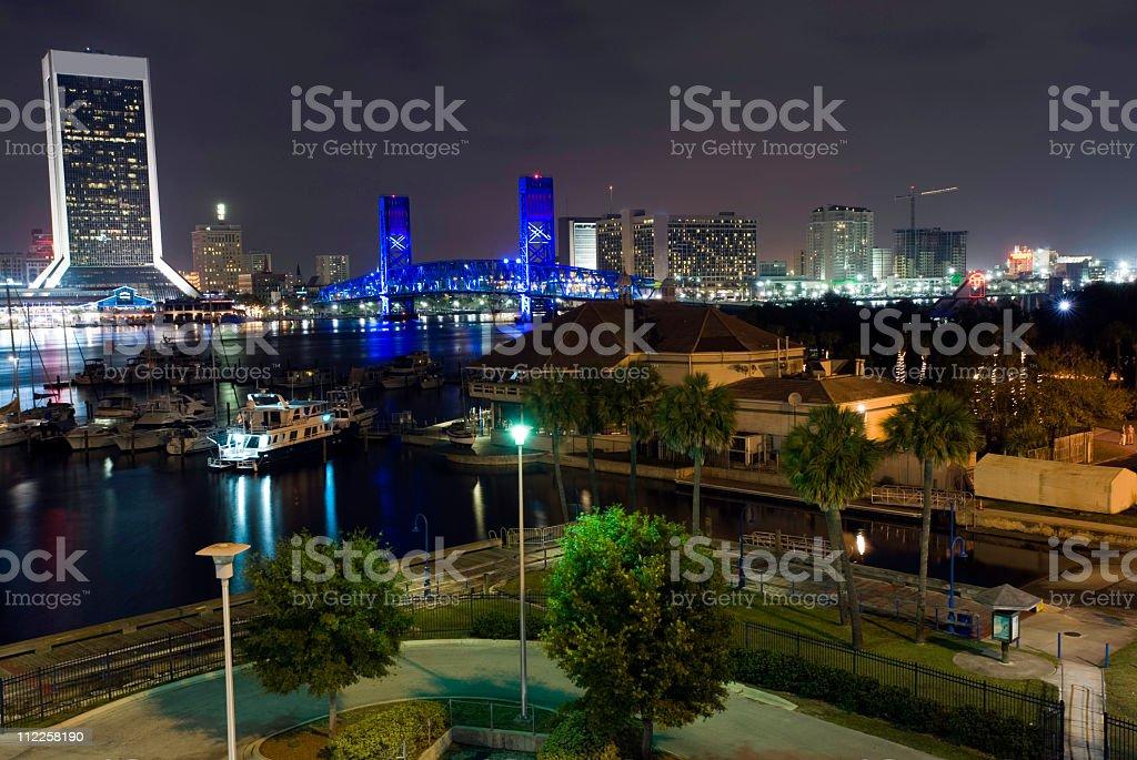 Entire Jacksonville Florida Riverwalk waterfront royalty-free stock photo