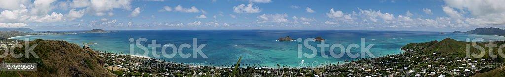 Entire panoramic view of Lanikai Hawaii royalty-free stock photo