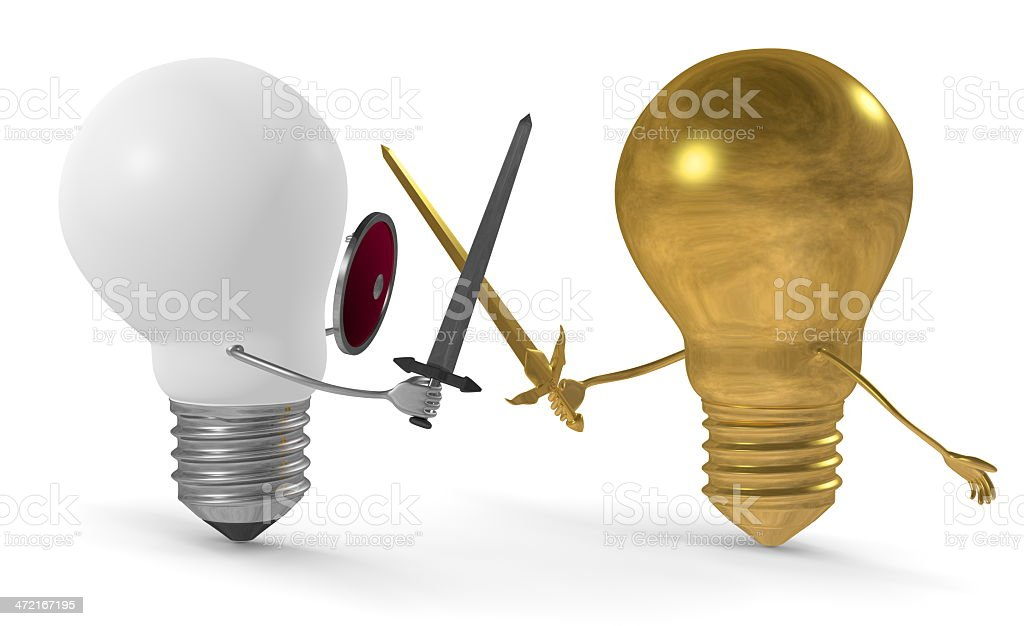Entirely golden lightbulb fighting duel with swords against white one royalty-free stock photo