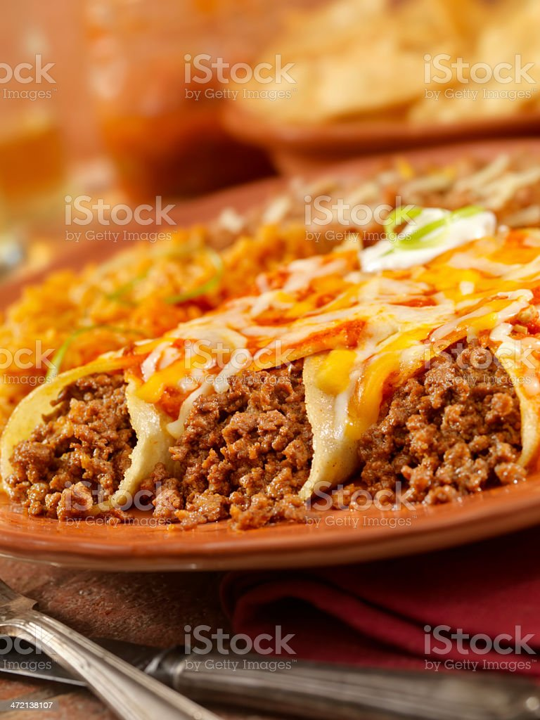Entomadas or Beef Enchiladas stock photo