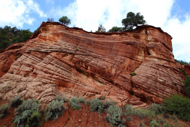 Entrada sandstone Cross bedding in the Entrada sandstone; a Triassic/Jurassic rock formation formed by aeolian transported sand which resulted into dune deposits over geologic time, Kanab, Utah, USA entrada sandstone stock pictures, royalty-free photos & images