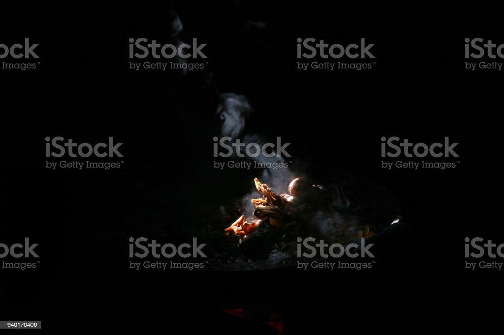 entrails chicken soup boil on large frying pan stock photo