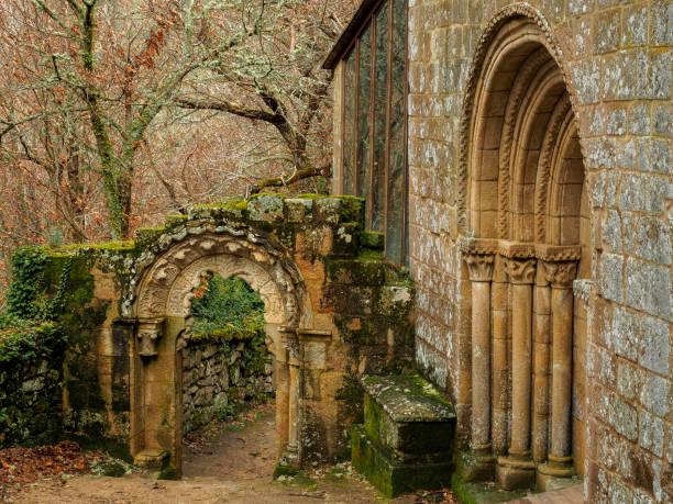 Entrance and arch of Santa Cristina de Ribas del Sil stock photo