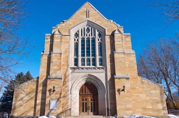 Entrance and Facade of Landmark Saint Paul Church stock photo