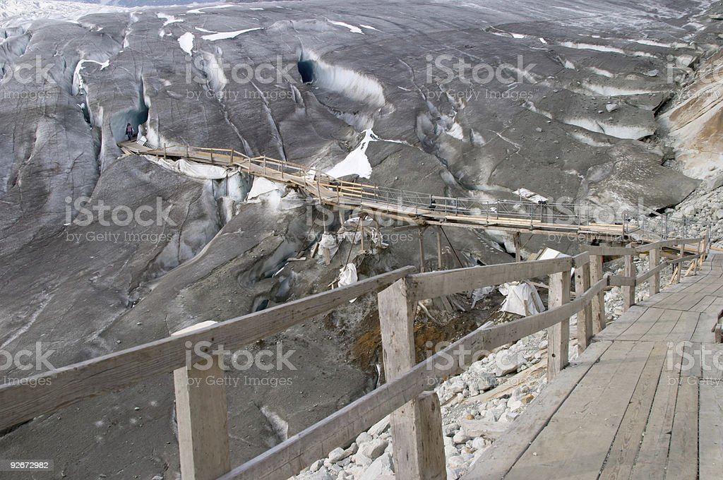 Entrance and footbridge of the ice cave (Eisgrotte am Rhoneglets royalty-free stock photo