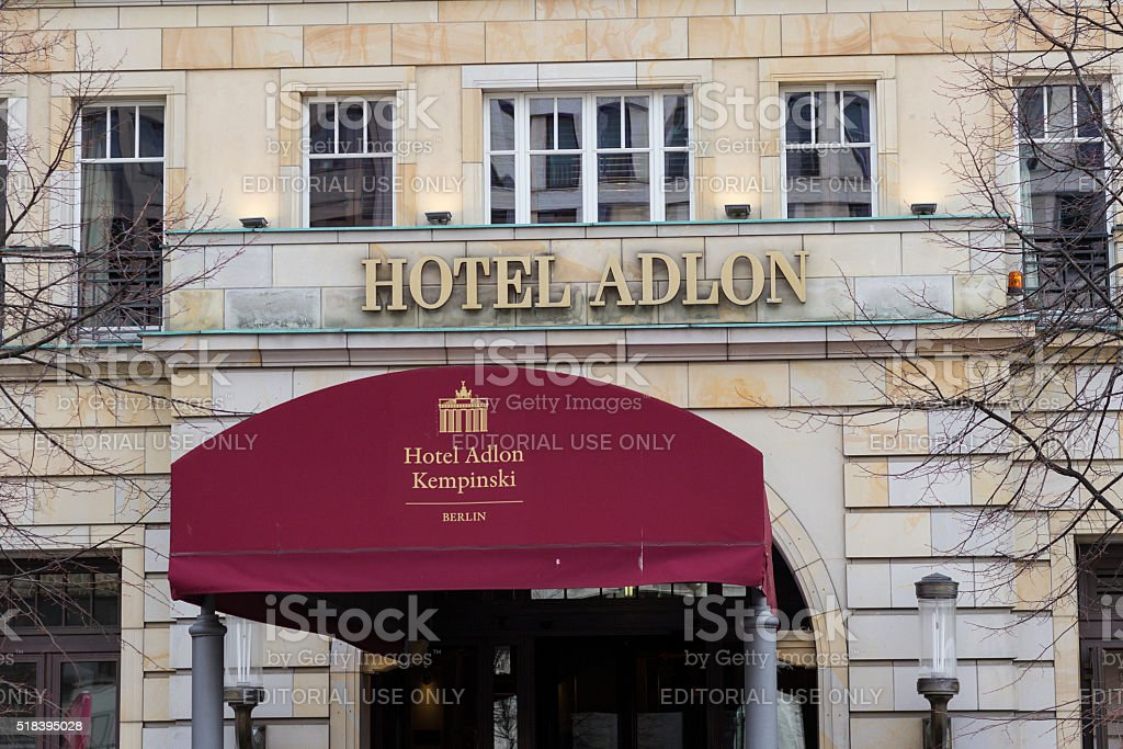 Entrance and logo of  the famous Hotel Adlon in Berlin stock photo