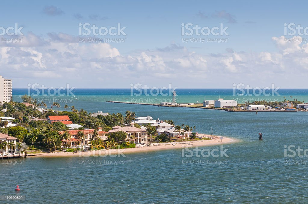 Entrance Channel to Fort Lauderdale, Forida, USA, Harbour stock photo