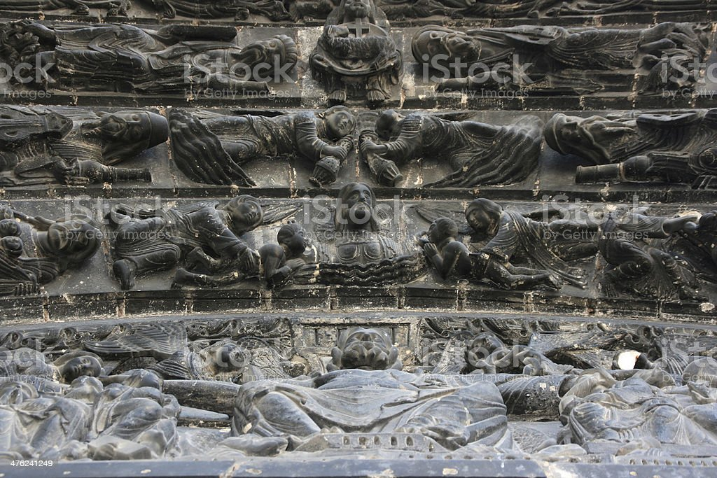 Entrance detail of Saint Denis Basilica - France stock photo