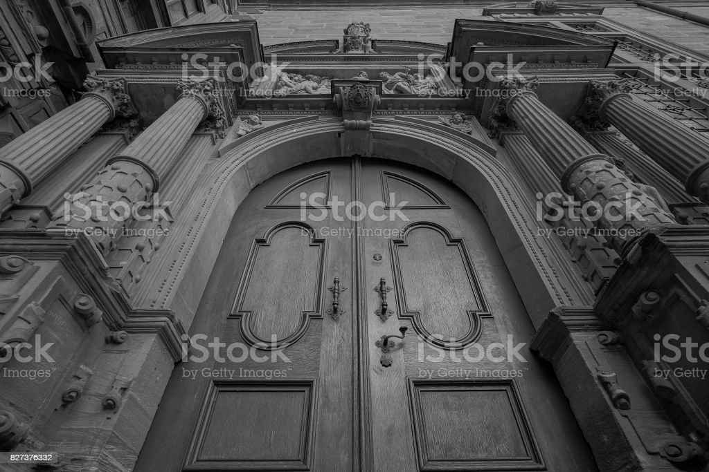 Entrance door of cathedral stock photo