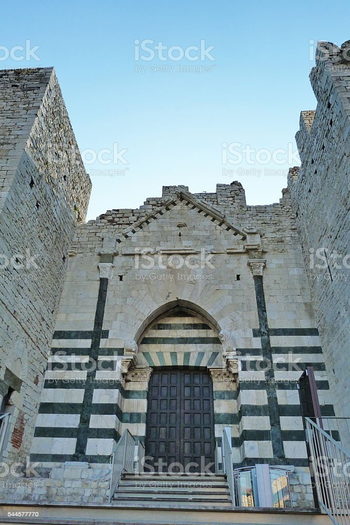 Entrance door of Emperors castle, Prato stock photo